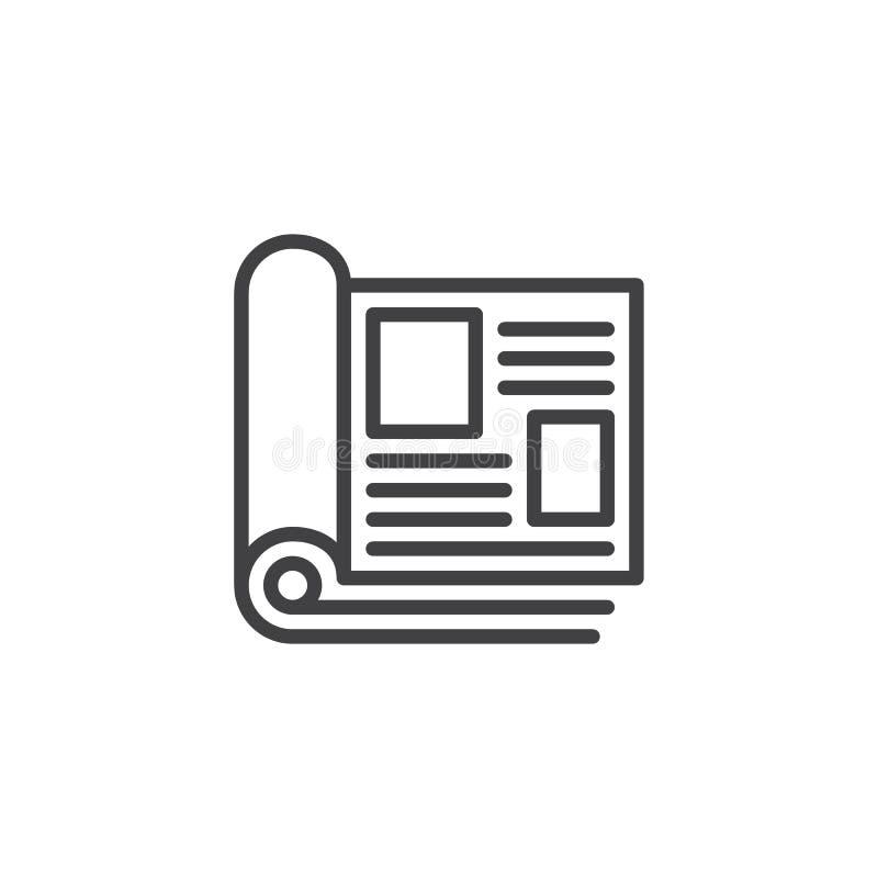 La revista pagina el icono del esquema ilustración del vector