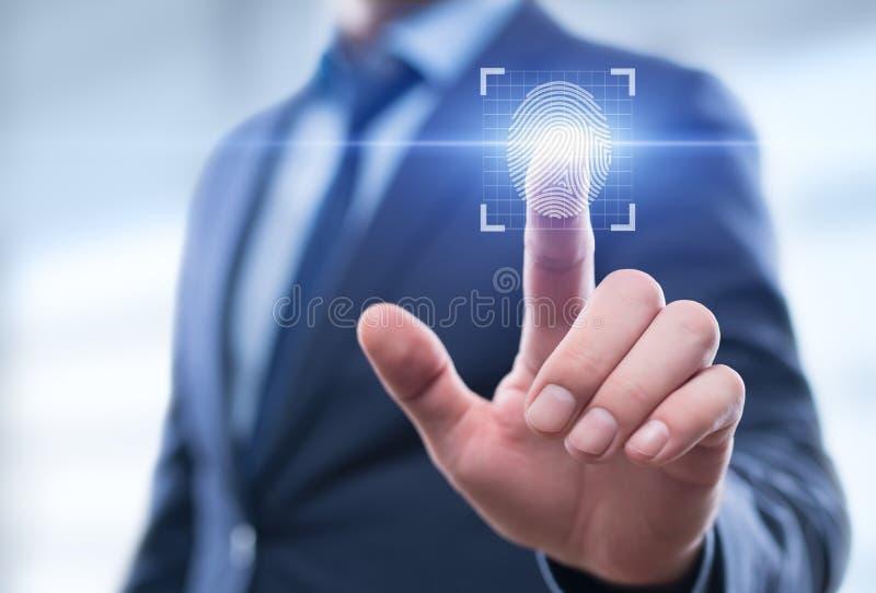 La ricerca dell'impronta digitale consente l'accesso di sicurezza l'identificazione della biometria fotografie stock libere da diritti