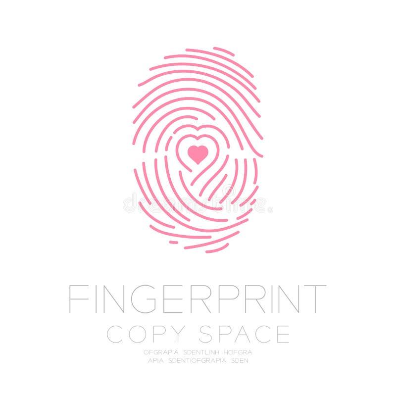 La ricerca dell'impronta digitale ha messo con l'idea di concetto di simbolo del cuore di amore royalty illustrazione gratis