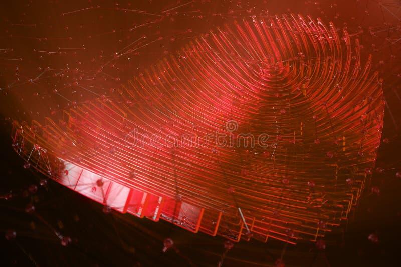 la ricerca dell'impronta digitale dell'illustrazione 3D consente l'accesso di sicurezza l'identificazione della biometria Dati pe fotografie stock
