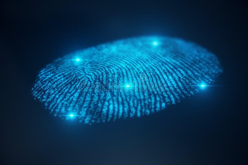 la ricerca dell'impronta digitale dell'illustrazione 3D consente l'accesso di sicurezza l'identificazione della biometria Protezi illustrazione di stock