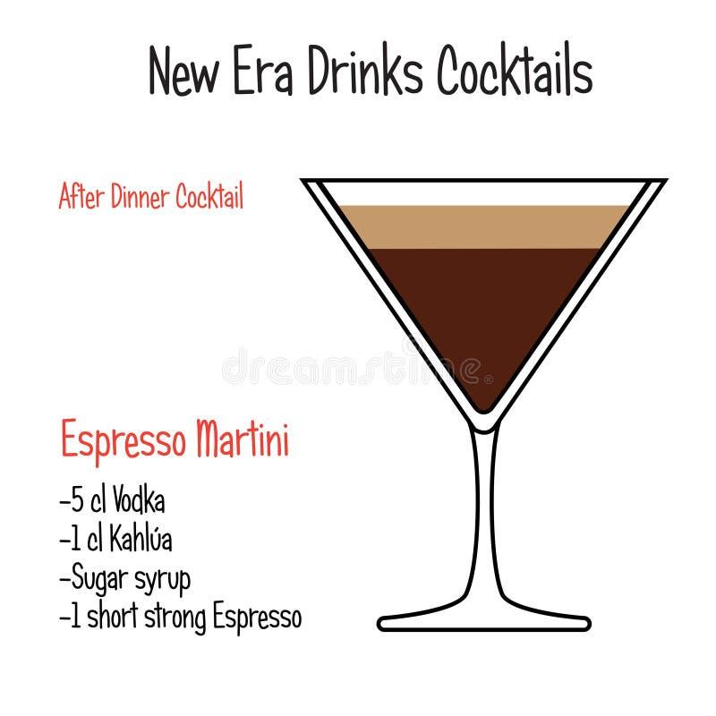 La ricetta alcolica dell'illustrazione di vettore del cocktail di martini del caffè espresso ha isolato illustrazione vettoriale