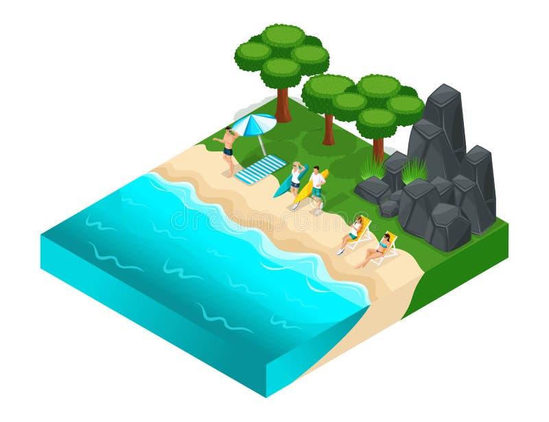 La ricreazione all'aperto di Isometrics, la roccia, le montagne, le pietre, erba, giovani si rilassa gli adolescenti, il fiume, l illustrazione vettoriale