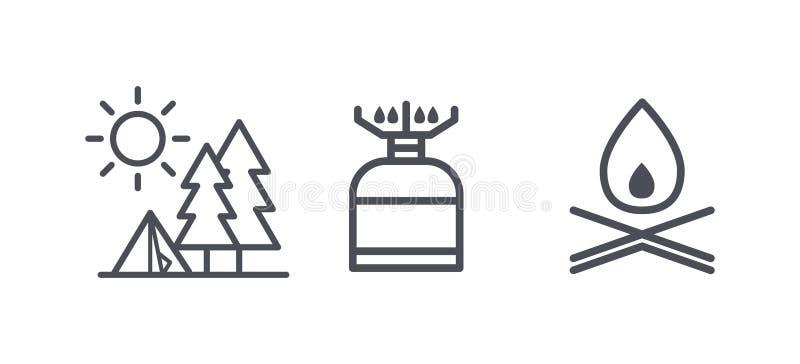La ricreazione e le icone di campeggio, l'attività all'aperto e fare un'escursione i simboli del profilo, pittogrammi lineari vec illustrazione vettoriale
