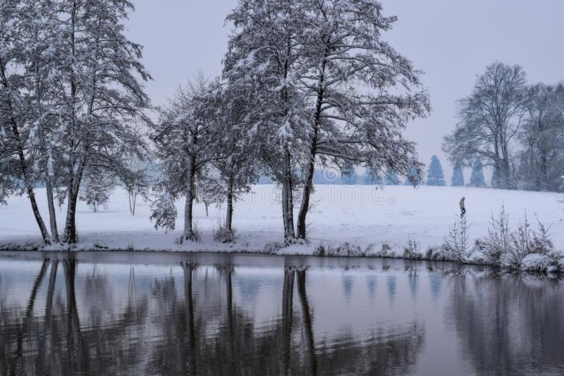 La riflessione congelata del lago in campagna francese durante il Natale condisce/inverno immagine stock libera da diritti