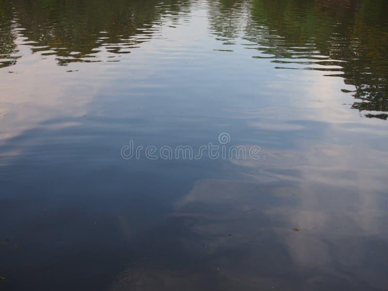 La riflessione di specchio del fiume del cielo e degli alberi fotografie stock