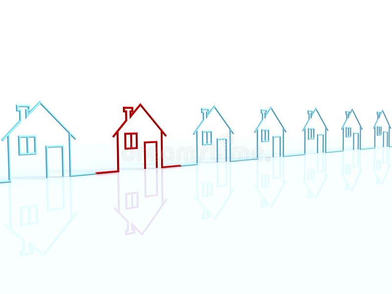 La riga delle case illustrazione di stock