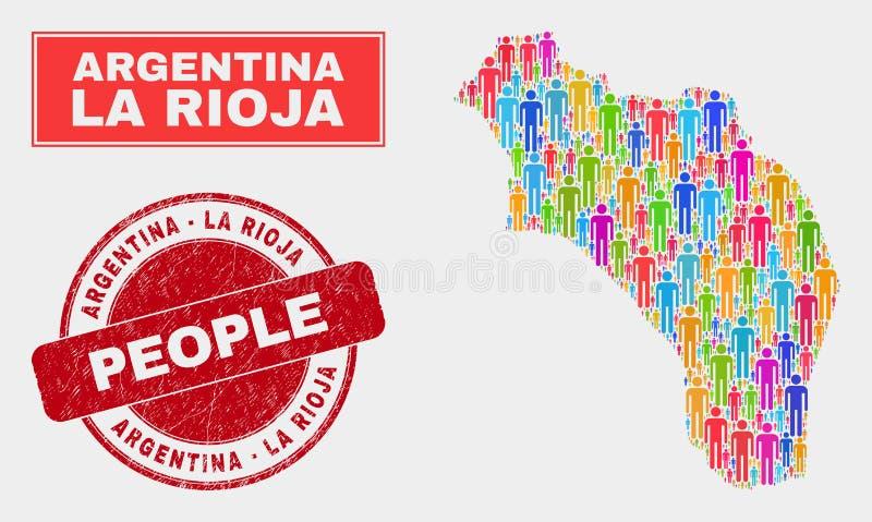 La Rioja av Demographics för Argentina översiktsbefolkning och Grungeskyddsremsan royaltyfri illustrationer