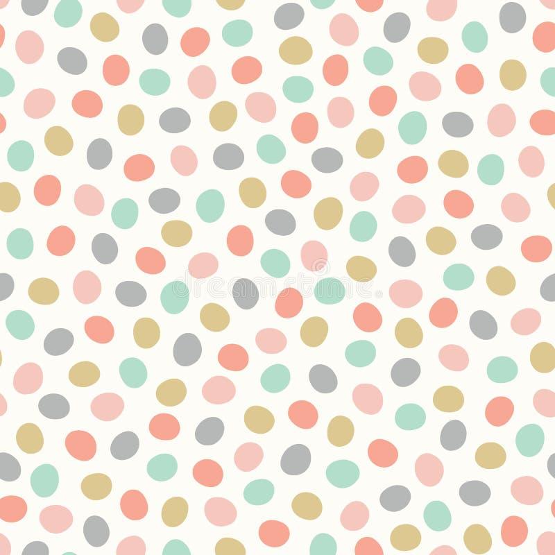 La ripetizione senza cuciture ha lanciato il modello dei pois disegnati a mano Punti colorati pastelli svegli in un fondo di prog illustrazione vettoriale