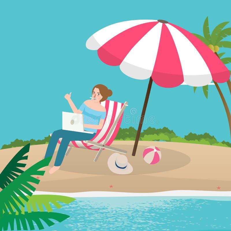 La ripresa esterna funzionante delle free lance gode di sulla sabbia della spiaggia con il computer portatile royalty illustrazione gratis