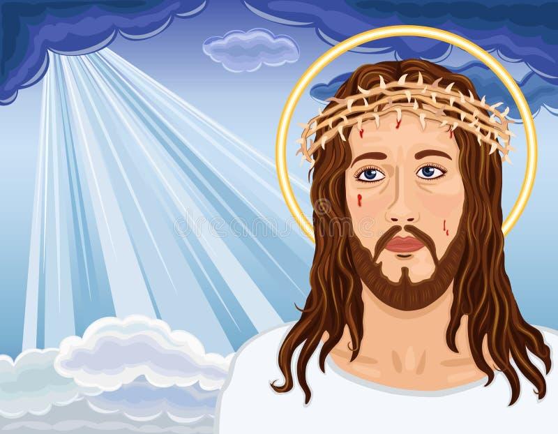 La risurrezione - ritratto del Gesù Cristo illustrazione di stock