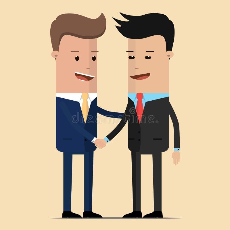 La riunione di due uomini d'affari e strette di mano di affari riunione dei due politici, diplomatici, partner o amici accoglient illustrazione di stock