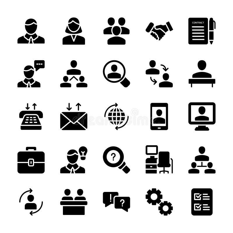 La riunione, icone solide del posto di lavoro imballa illustrazione vettoriale