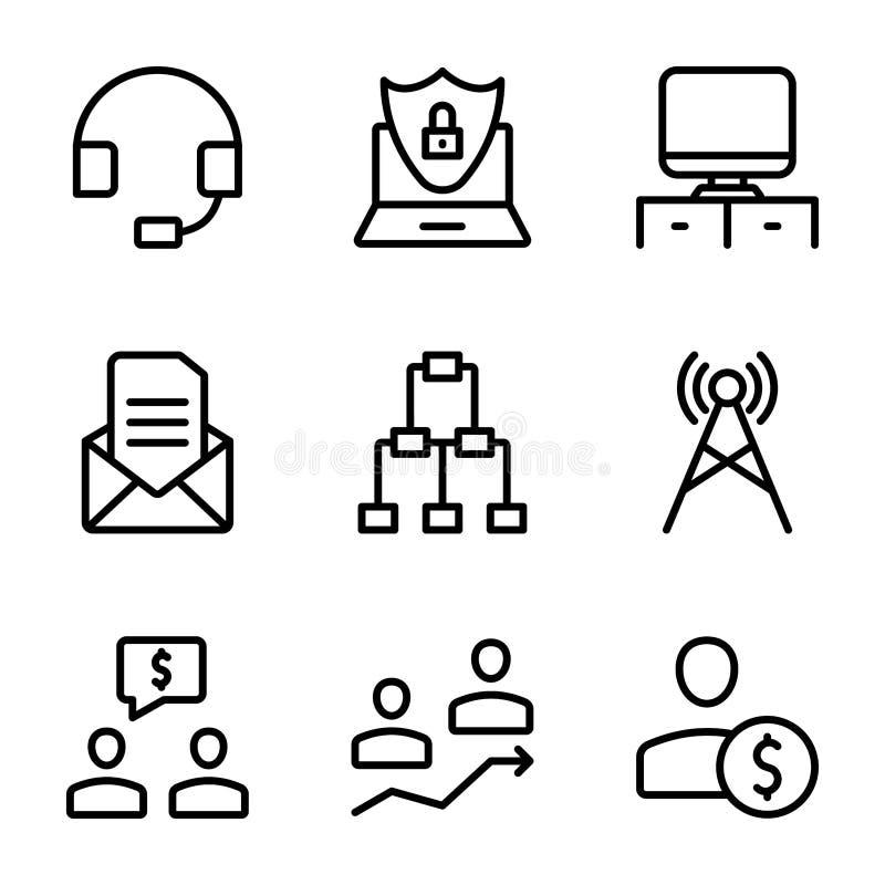 La riunione, posto di lavoro, linea icone di comunicazione commerciale imballa illustrazione vettoriale
