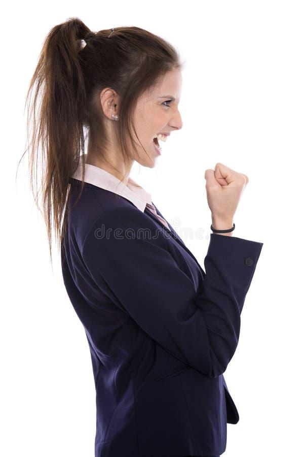 La riuscita giovane donna di affari ha raggiunto gli obiettivi o è felice di fare fotografia stock libera da diritti