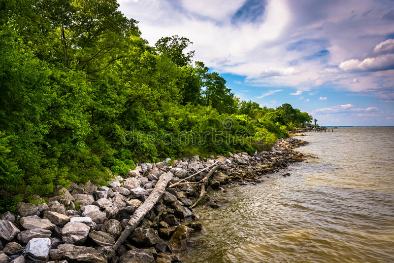 La riva della baia di Chesapeake ai bassi parcheggia, a Pasadena, Maria immagine stock