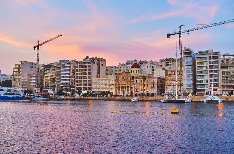 La riva di Sliema, Malta immagine stock