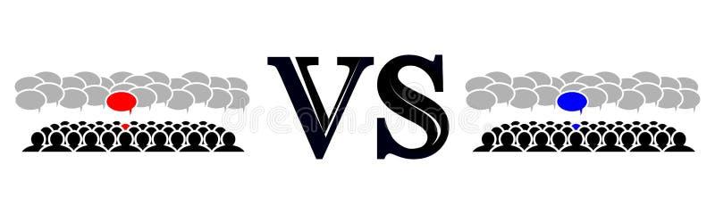 La rivalité des deux équipes illustration stock