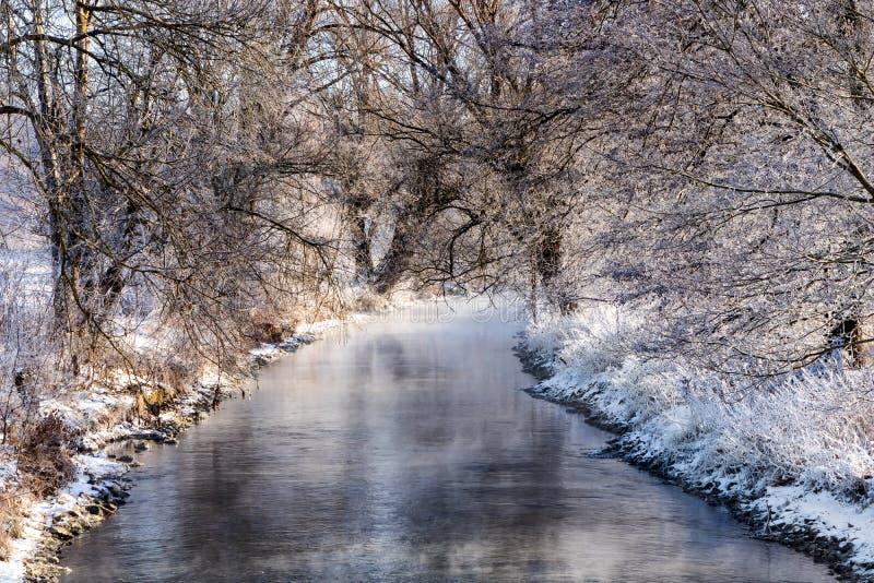 La rivière de Brenz en hiver photos stock