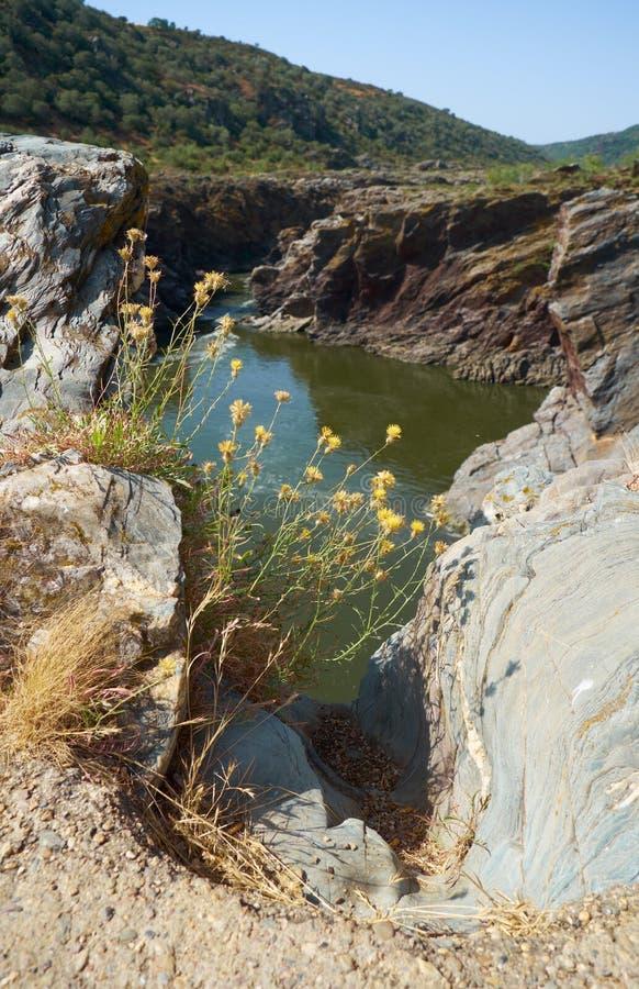 La rivière du Guadiana traverse le caniveau profond en schistes Pulo font images libres de droits
