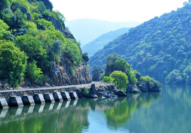 La rivière et le vieux train rayent - la rivière de Douro photographie stock