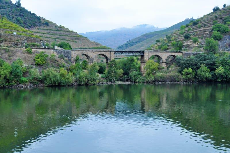 La rivière et un pont en train - rivière de Douro photos libres de droits