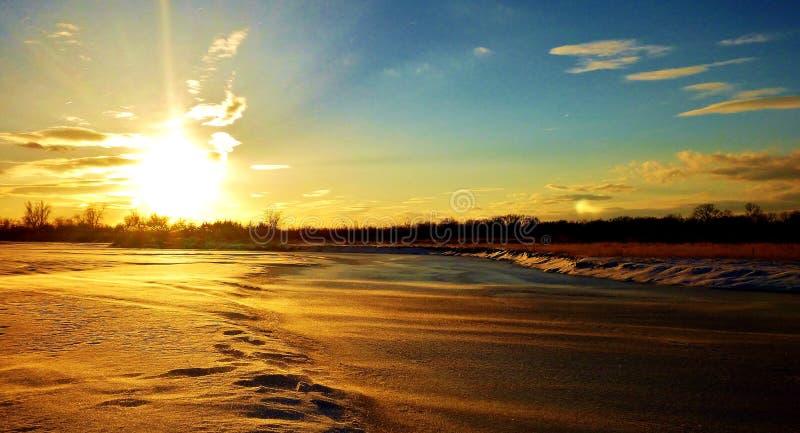 La rivière Platte congelée photographie stock libre de droits