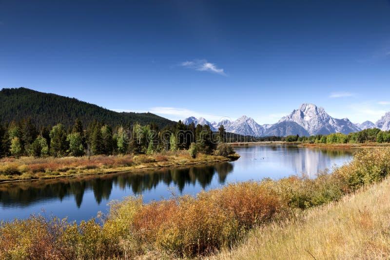 La rivière Snake à la courbure d'Oxbow images libres de droits