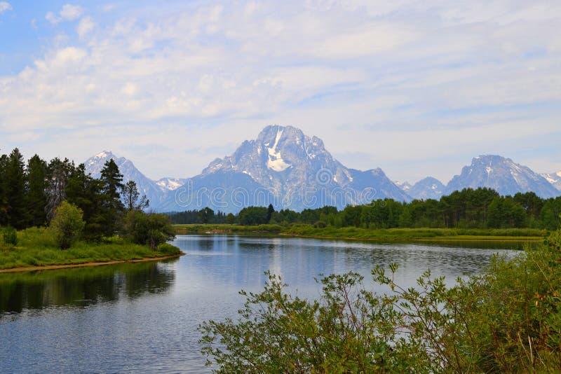 La rivière Snake et la courbure d'Oxbow en parc national grand de Teton image libre de droits