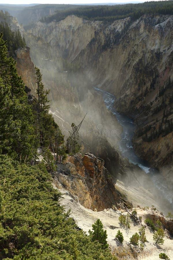 La rivière Yellowstone traverse le canyon grand de yellowstone photo libre de droits