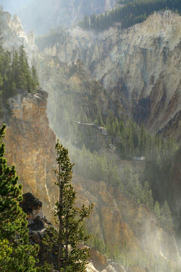 La rivière Yellowstone traverse le canyon grand de yellowstone photos stock