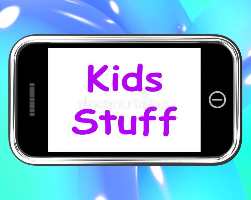 La roba di bambini sul telefono significa le attività online illustrazione di stock