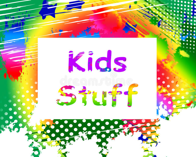 La roba di bambini sullo schermo significa le attività online per i bambini illustrazione di stock