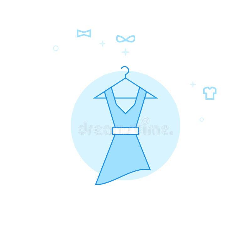 La robe des femmes sur une illustration plate de vecteur de cintre, icône Conception monochrome bleu-clair Course Editable illustration stock