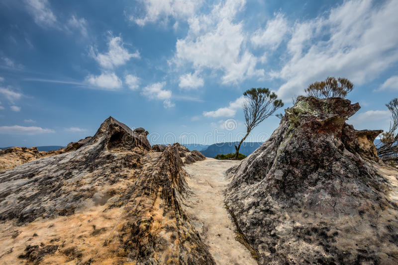La roca de Lincoln cerca de Wentworth Falls en las montañas azules, NSW, imagen de archivo libre de regalías