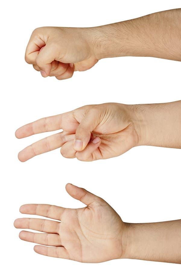 La roca de papel Scissors el juego de la mano aislado imagenes de archivo