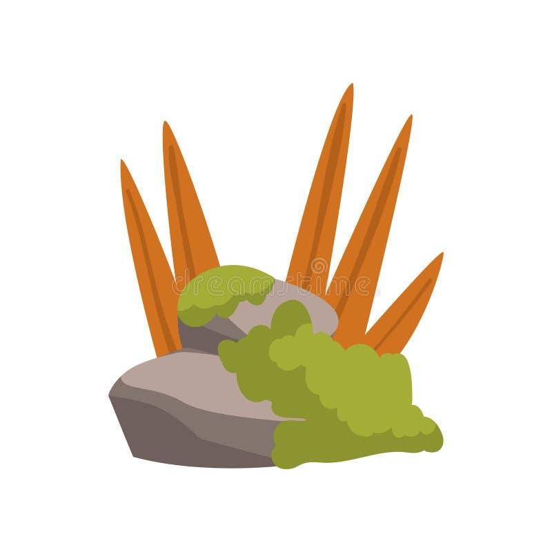 La roca empiedra los cantos rodados con la hierba, bosque, ejemplo natural del vector del elemento del diseño del paisaje de la m stock de ilustración