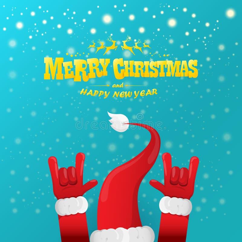 La roca n de la historieta del vector rueda el carácter de Santa Claus con el texto de saludo caligráfico del oro en el fondo azu libre illustration