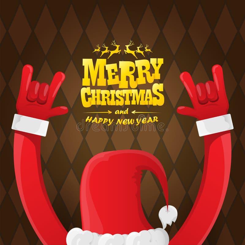 La roca n de la historieta del vector rueda el carácter de Santa Claus con el texto de saludo caligráfico del oro en fondo marrón stock de ilustración