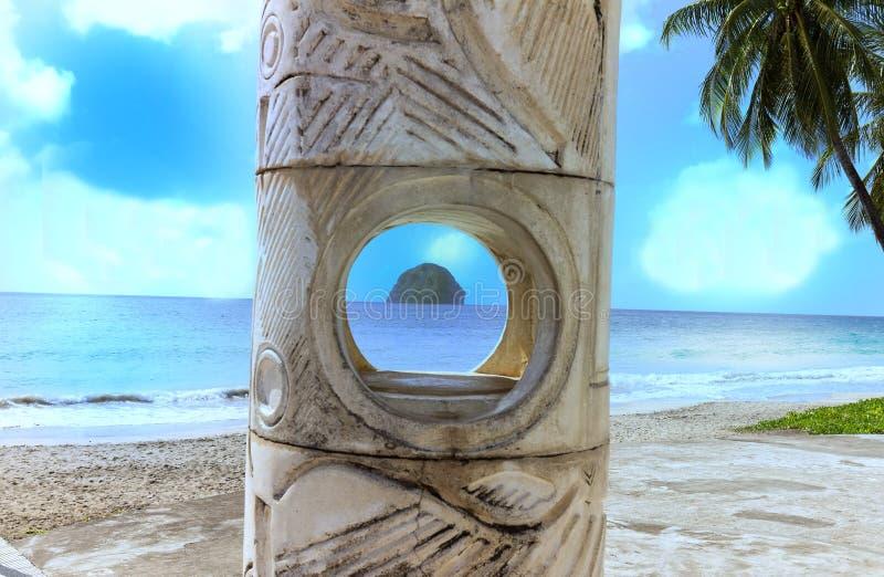 La roccia del diamante nell'isola della Martinica, Antille francesi fotografia stock