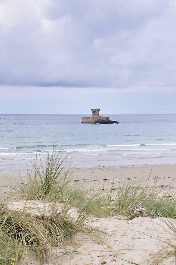 La Rocco塔在泽西,海峡群岛 免版税图库摄影