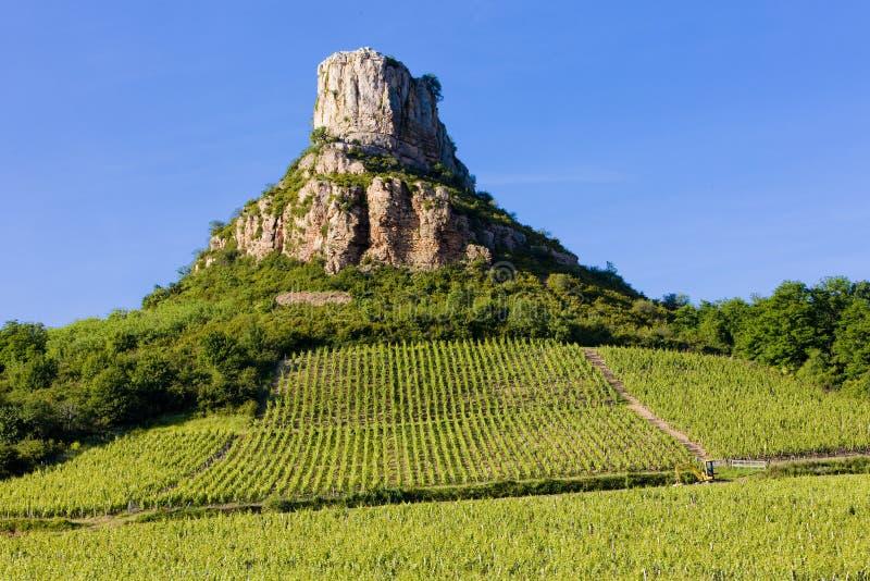 La Roche de Solutré with vineyards, Burgundy, France. Outdoor, outdoors, outside, exterior, exteriors, europe, western, bourgogne, dpartement, saone-et stock image