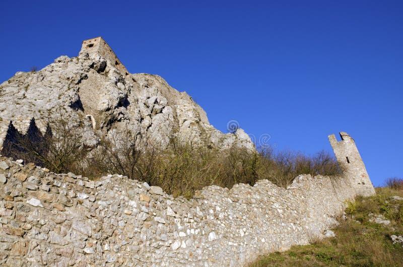 La roche du sud et le mur est de Devin se retranchent photo stock