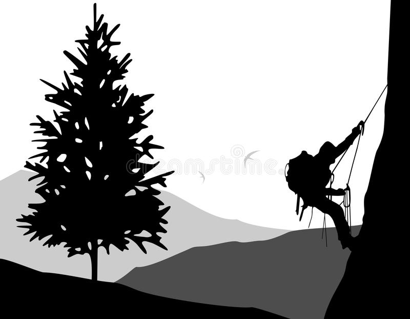 la roche s'élevante de noeuds ropes deux illustration libre de droits