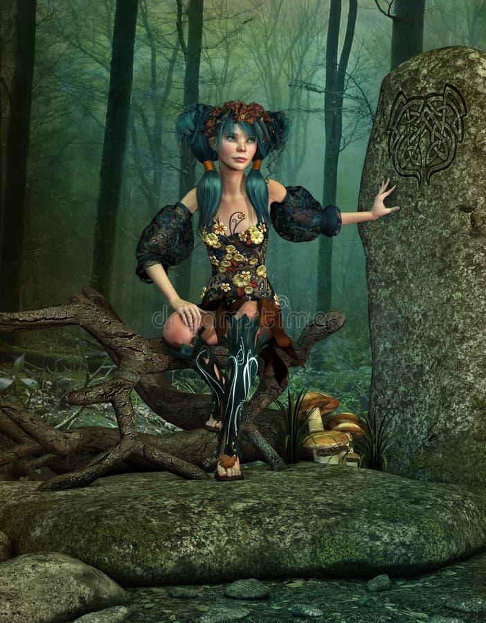 La roche secrète d'elfes, 3d CG. illustration libre de droits