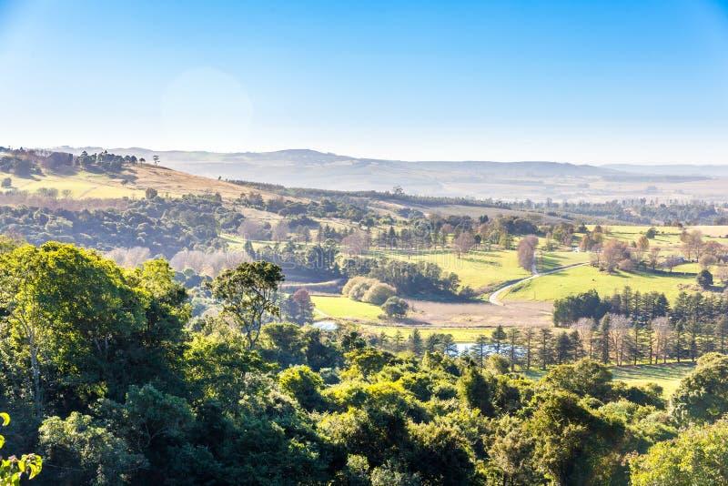 La Rolling Hills y los valles fértiles del Dargle, Kwazulu Natal, Suráfrica fotografía de archivo libre de regalías