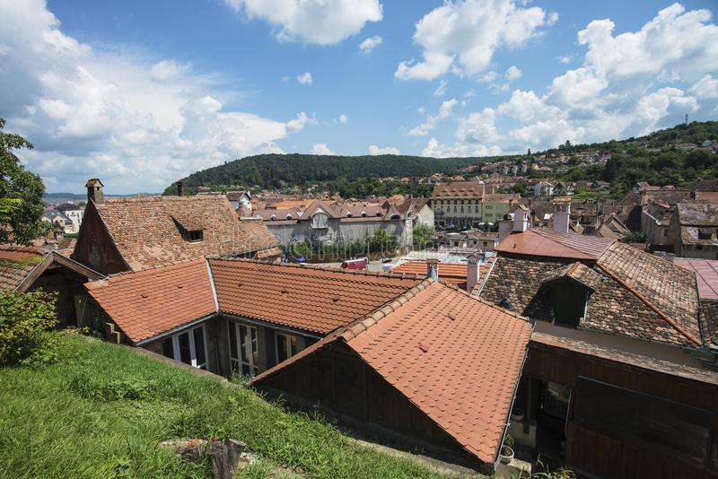La Romania, vista di Sighisoara fotografia stock