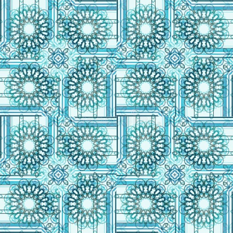 La ronda abstracta inconsútil florece turquesa en cuadrados con las rayas blancas stock de ilustración
