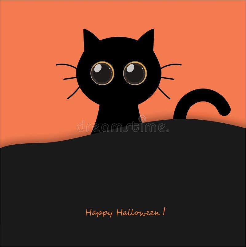 La ronda linda observa el gato negro de Halloween stock de ilustración
