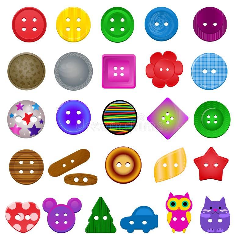 La ropa de costura de la colección del accesorio de vestir del diseño de la moda de los niños del vector del botón adapta el sist stock de ilustración